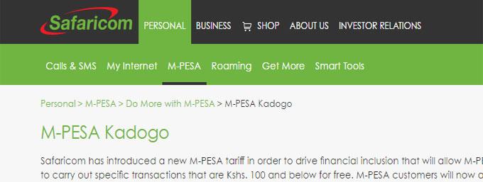 New Mpesa tariffs - Safaricom Kenya Mpesa Kadogo