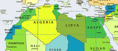 North African countries map